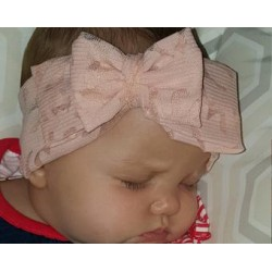 Soft Pink Double Bow, Soft Stretchy Lace, Baby Headbands